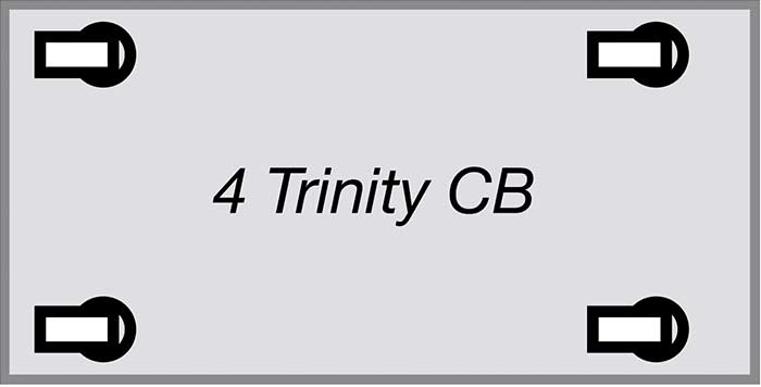 World's best practice castor configuration: 4 Trinity complete brake (CB)