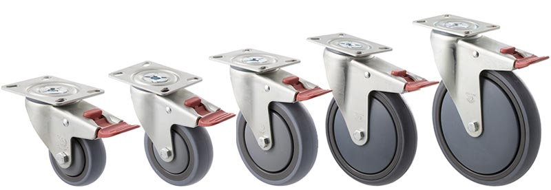 M and Big M series: Plate with swivel and total brake