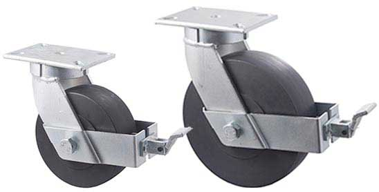 V series forks: Plate with swivel and wheel brake