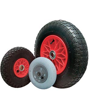 Pneumatic plastic-centred wheels