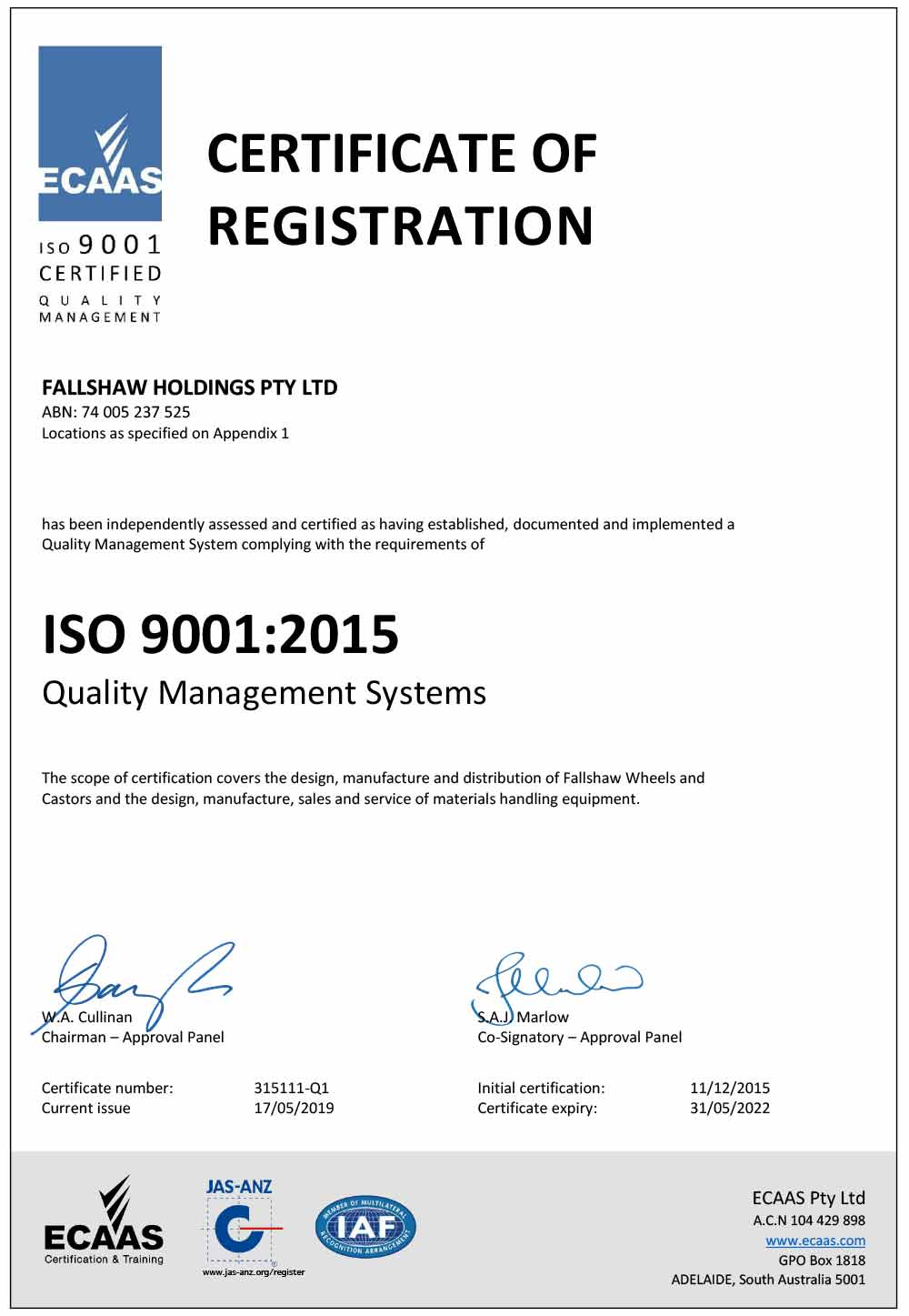 Certificate of registratin ISO9001:2015